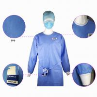 Cheap Impervious Disposable Surgical Gown Sms Protective Clothing Knitted Cuff Sleeve Standard for sale