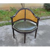 French Countryside Style Ratten Back Solid Wood Fabric Armrest Dining Chair with Leather Seats