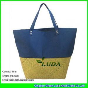 Cheap LUDA fabric pieced straw beach bag sea grass straw fashion handbags for sale
