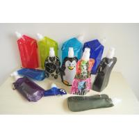 Cheap Custom Printed Collapsible Foldable Water Bags / Bottle with Carabineer for sale