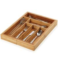 Cheap No Plastic Bamboo Kitchen Supplies Utensil Flatware Organizer For Narrow Drawers for sale