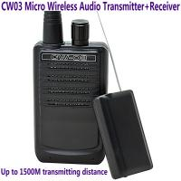 Cheap CW03 Micro Wireless Audio Transmitter+Receiver Listening Bug 500M Remote Sound Monitor wholesale