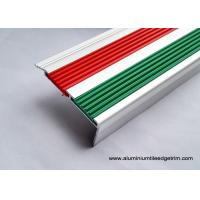 China 2.5m Length Aluminum Stair Tread NosingWith 2 PVC Vinyl Insert Red And Green on sale