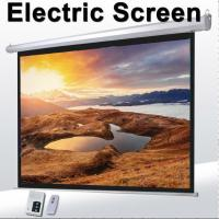 China 1:1 60Motorized Projector Screen With Remote Control,Matte White Fabric Screen For Movie Theater on sale