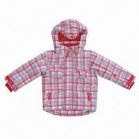 Cheap Children Winter Jacket with Checkered Print, Made of 210T Polyester Lining for sale
