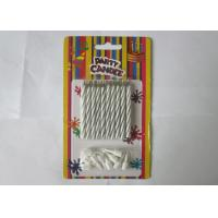 Cheap Column Shape Magic Relighting Candles , White Striped Birthday Candles for sale