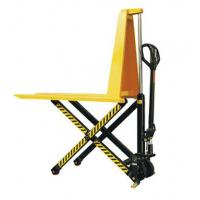 Cheap Yellow Color Steel Scissor Lift Hand Pallet Truck , Manual Hydraulic Stacker Straddle Lift Truck for sale