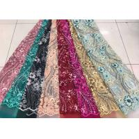 Cheap Embroidered Sequin Lace Fabric , Floral Tulle Fabric For Fashion Party Gown Dress for sale
