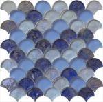 Cheap Blue blend serie backsplash water waving glass mosaic for sale