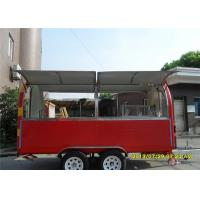 Cheap Mobile Food Trailers Red And Yellow Striple , Food Truck RefrigeratorMoving Cart for sale