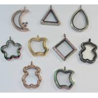 China S.Steel Bear Moon Triangle Square Apple Five Star Water Drop Shape Glass Floating Lockets on sale
