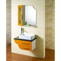 Cheap Square shape floating bathroom sink cabinets modern with 5mm silvered float mirror for sale