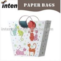 Cheap Creative circle shape handle with lovely cat design paper gift bag storage bag for sale