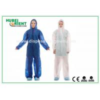 China Nonwoven White Disposable Overalls PP / SMS / PP + PE Protective Coverall With Hood on sale