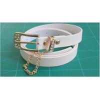 Cheap Dress White Cloth Belts For Women , gold buckle with rhinestone and gold chain for sale