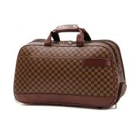 China Large Travelling Luggage Bags with Tie Rod Hand Double Use , Brown PU Leather Trolley Bags on sale