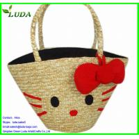 Cheap LUDA Smile Wheat Straw Bag w/a red flower for sale