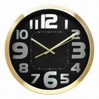 Cheap Metal wall clock, metal stainless steel case with metal dial, simple design for home decoration for sale