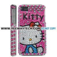 Cheap Kitty Blue Costume Glue Reinforced Rhinestone Hard Case for iPhone 4 (Verizon,AT&T,iPhone 4S) - Magenta for sale