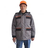 Cheap Two Tone Safety Heavy Duty Winter Work JacketWith Storm Pockets And Padding Hood for sale