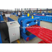 China Color Roofing Glazed Tile Roll Forming Machine With Hydraulic Press Cutting on sale