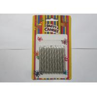 Cheap Decorative Silver Birthday Candles / Spiral Birthday Cake Candles No Somke for sale