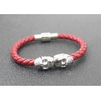 China Skull Braided Woven Leather Bracelet With Stainless Steel Magnetic Buckle on sale