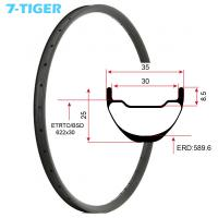 Cheap 7-tiger carbon mountain bicycle wheels rim 29 er carbon racing bike brompton fat bike 35 x 25  holes Tubeless Compatible for sale