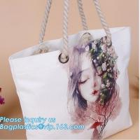 China Promotional custom portrait printing lady shoulder bag,cotton canvas shopping tote bag with cotton rope handle bagease p on sale
