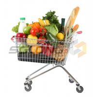 Unfolding Supermarket Shopping Trolley , Metal Wire Shopping Carts