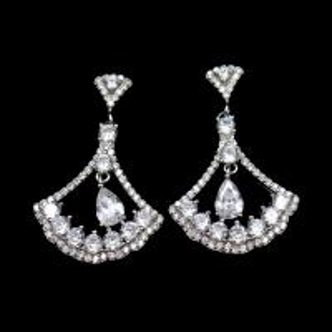 Cheap Triangle Shape Silver Cubic Zirconia Drop Earrings Charm / Vintage Jewelry for sale