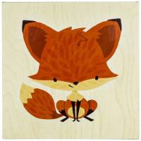 "Cheap Small Size 14""x14"" Decorative 100% Hand Wall Art Canvas Painting For Cute Fox for sale"