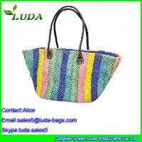 Cheap Multicolor Corn husk Straw Shoulder Bags with PU handle for sale
