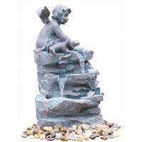 Cheap Angel On Rock Waterfall Resin Garden Fountains with LED Light Anchor Falls Cascading for sale