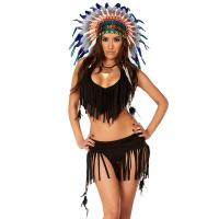 Cheap Balck Spandex Rain Dance Sexy Native American Costume with Size S to XXL Available for sale
