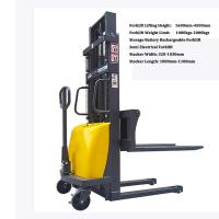 Cheap semi automatic trolley forklift, storage battery , Semi Electric Stacker forklift, Semi Automatic Forkli for sale