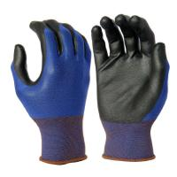 Cheap PU1003 18G Blue Nylon Liner, with Black PU palm Coating for sale