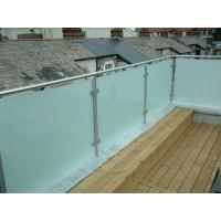 Cheap Hot sale frosted glass panel glass balustrade with inox baluster post design for sale