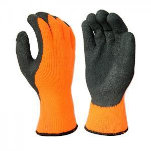 Cheap L1306 10 Gauge Hi-Viz Orange Acrylic Liner, with Black Latex Palm Coating, Crinkle Finished for sale
