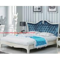 Cheap Neoclassical design Luxury Furniture Fabric Upholstery headboard King Bed with Crystal Pull buckle Decoration for sale