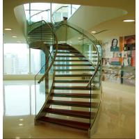Cheap Stainless steel curved glass staircase indoor glass stairs for sale