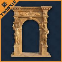 Cheap Figure Carved Stone Door Surrounds With Yellow Marble Grand Door Frame for sale
