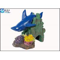Cheap Blue Little Shark Personalised Large Fish Tank Ornaments Decorations with Polyresin for sale