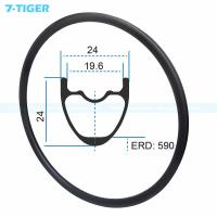 Cheap 7-tiger carbon mountain bicycle wheels rim 29 er carbon racing bike brompton fat bike 24-32 holes Tubeless Compatible for sale