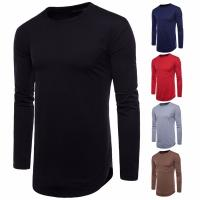 China China factory wholesale cheap men blank longline curved hem long sleeves t shirt on sale