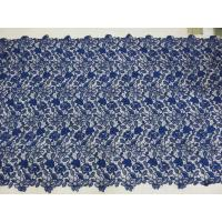 Buy cheap Royal Blue Cord Floral Embroidered Lace Fabric Handwork For Woman Dress from Wholesalers