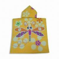 Quality Children's Beach Towel/Poncho, Made of 100% Cotton, with Velour Reactive Printing wholesale