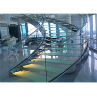 Cheap 316s.s indoor curved glass staricase with tempered clear glass railing top railing for sale