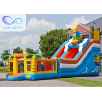 Cheap 6.5m Beach Water Jumping 4 In 1 Inflatable Water Slides for sale