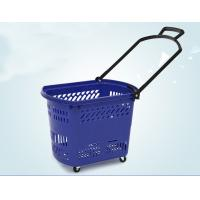 Cheap Durable Rolling Plastic Shopping Basket With Wheels OEM / ODM Available for sale